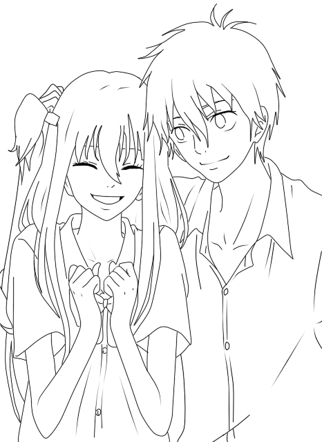 Line Drawing Couple : Anime couple sleeping coloring pages