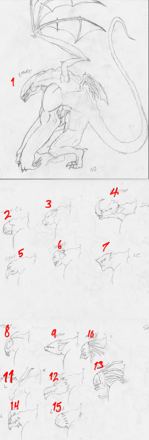 Evolve creatuer head ideas by Hito-san