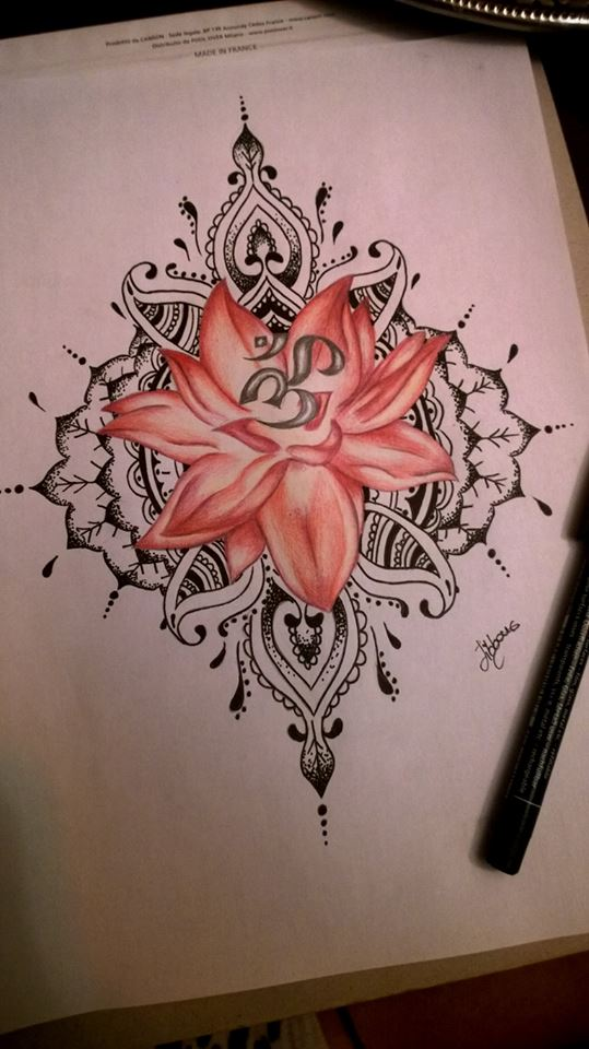 lotus ohm tattoo design by carolinajibbondonati on deviantart. Black Bedroom Furniture Sets. Home Design Ideas