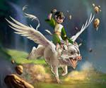 Badass Toph Beifong and Flying Boar