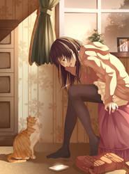 Cat and girl by yasunomisaki