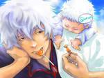 Gintoki and orange sweets