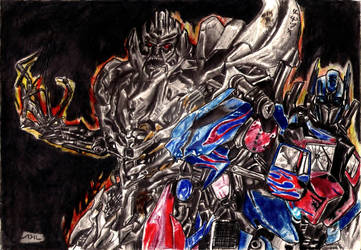 Megatron and Optimus by PharmArtist