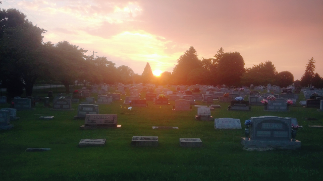 Sunset Cemetery by ColorfulStarsInAJar