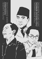 Sutan Sjahrir, Soekarno dan Amir Sjarifuddin by astayoga