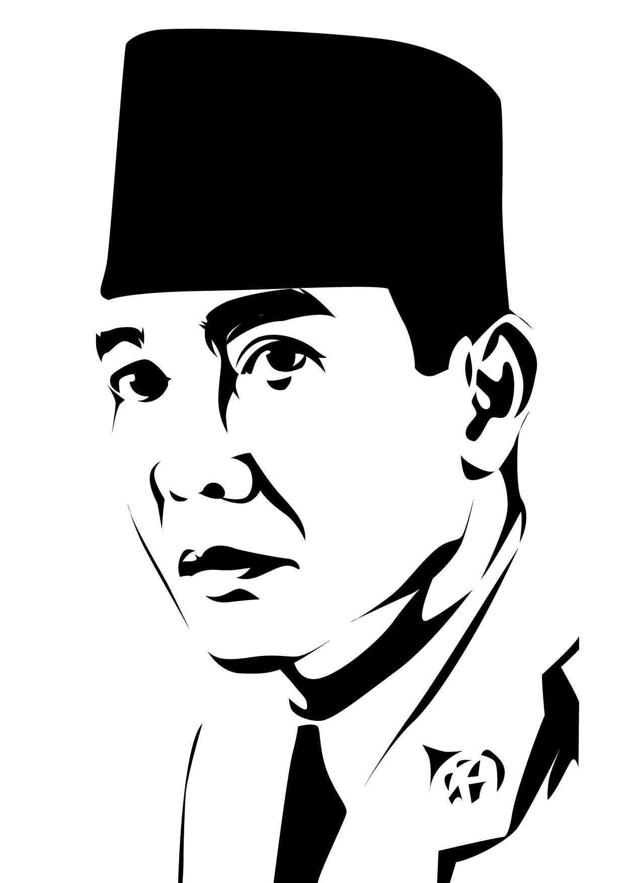 Gambar Pahlawan Hitam Putih Slubne Sukniefo