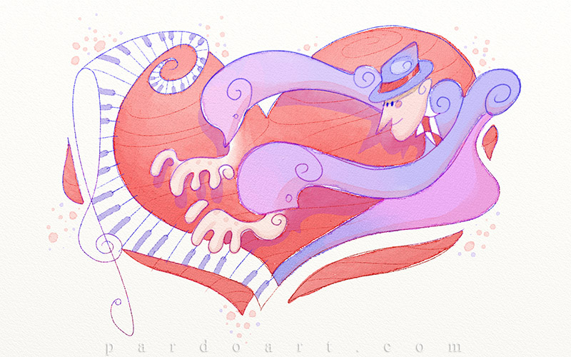 Pianist in love by pardoart
