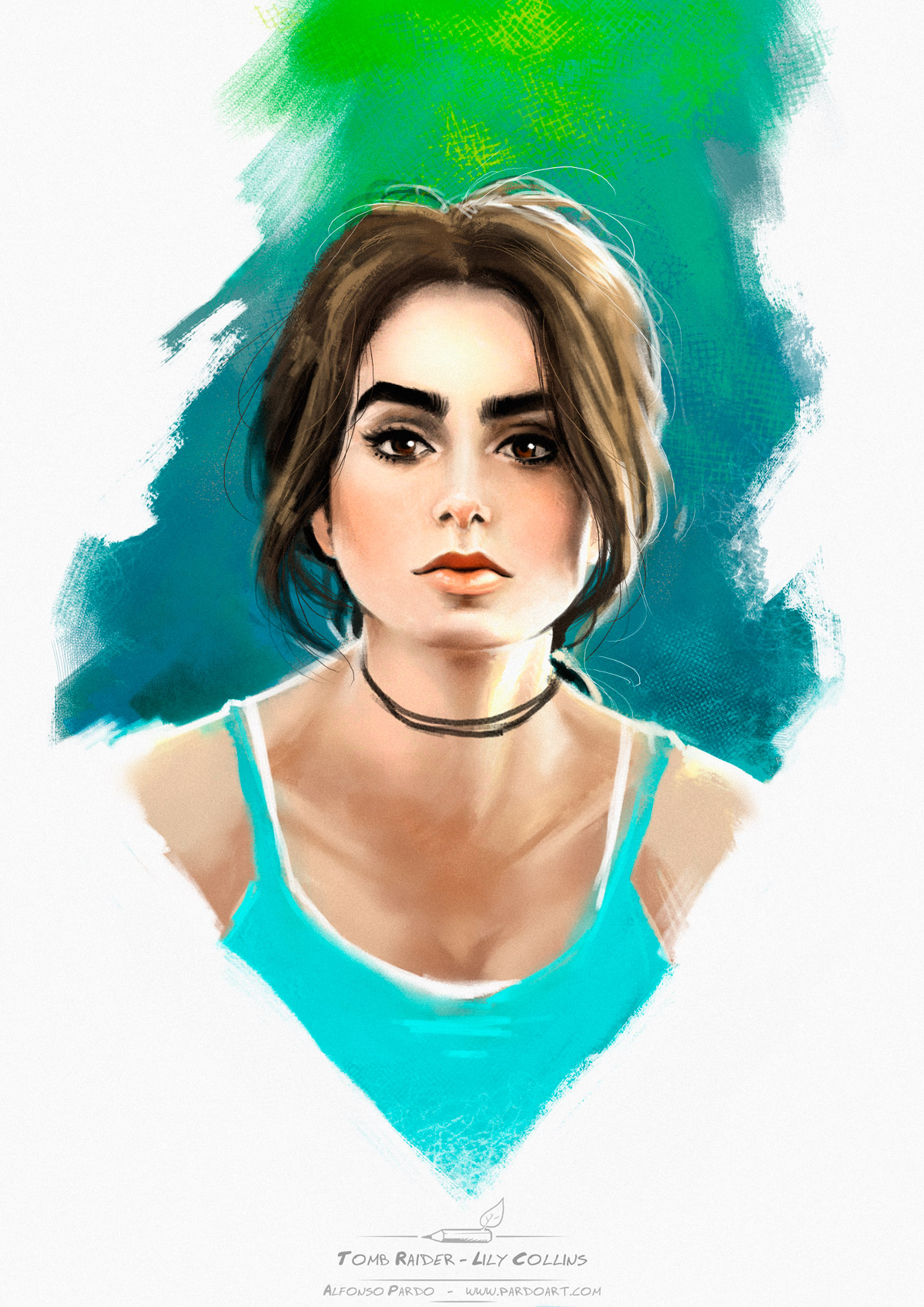 Lily Collins as Tomb Raider by pardoart
