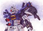 Gundam GP01 in watercolor