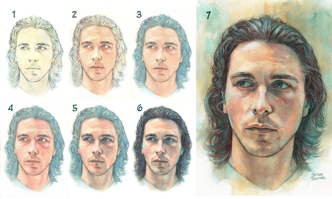 Watercolor portrait step by step by trunnec on deviantart for How to paint a portrait in watercolor