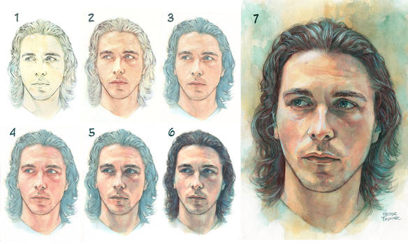 Watercolor portrait - Step by Step