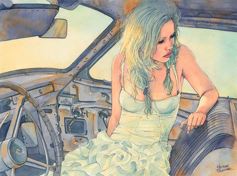 In a Car (watercolor illustration)