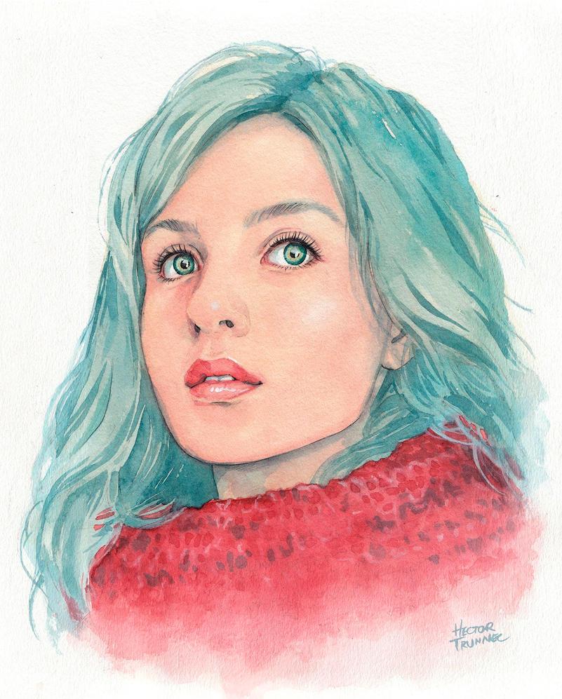 Watercolor portrait by Trunnec