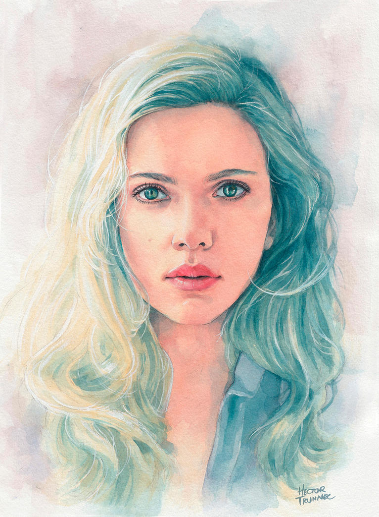 Scarlett Johansson watercolor by Trunnec