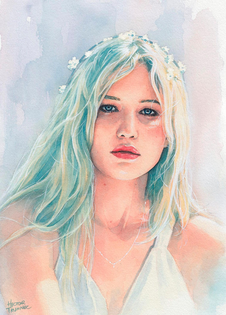 Jennifer Lawrence watercolor by Trunnec