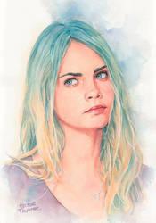 Cara Delavingne watercolor by Trunnec