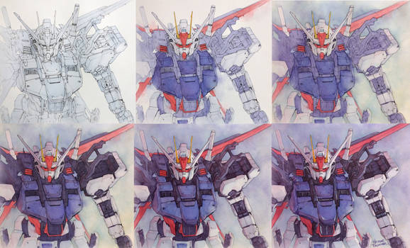 Gundam watercolor step by step