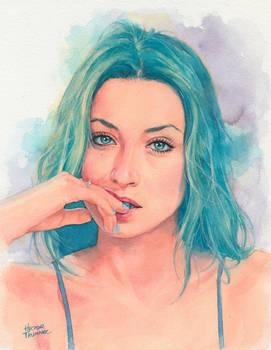 Bluehair Watercolor Portrait