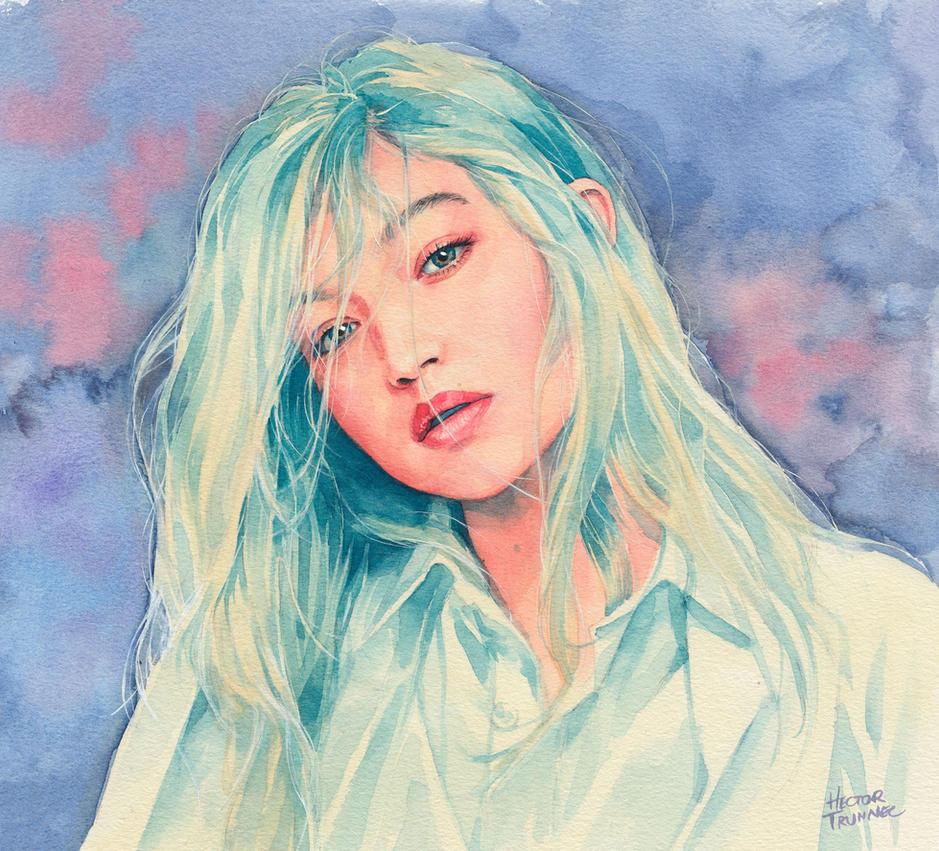 Gigi Hadid watercolor by Trunnec