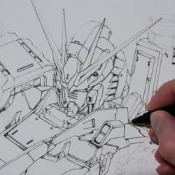 Inking Nu Gundam by Trunnec