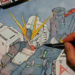 Painting Nu Gundam (wip)