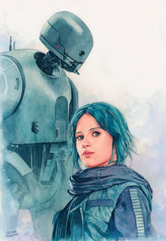 Jyn Erso and K-2so watercolor