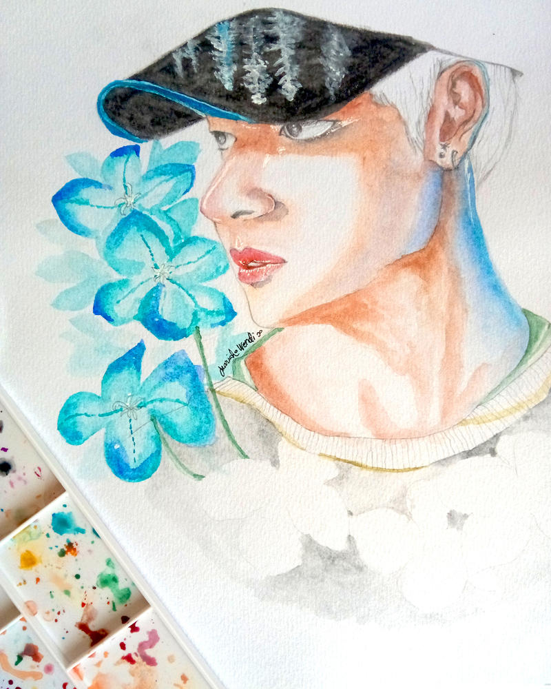 Taehyung +  Hydrangea by mariahwendi