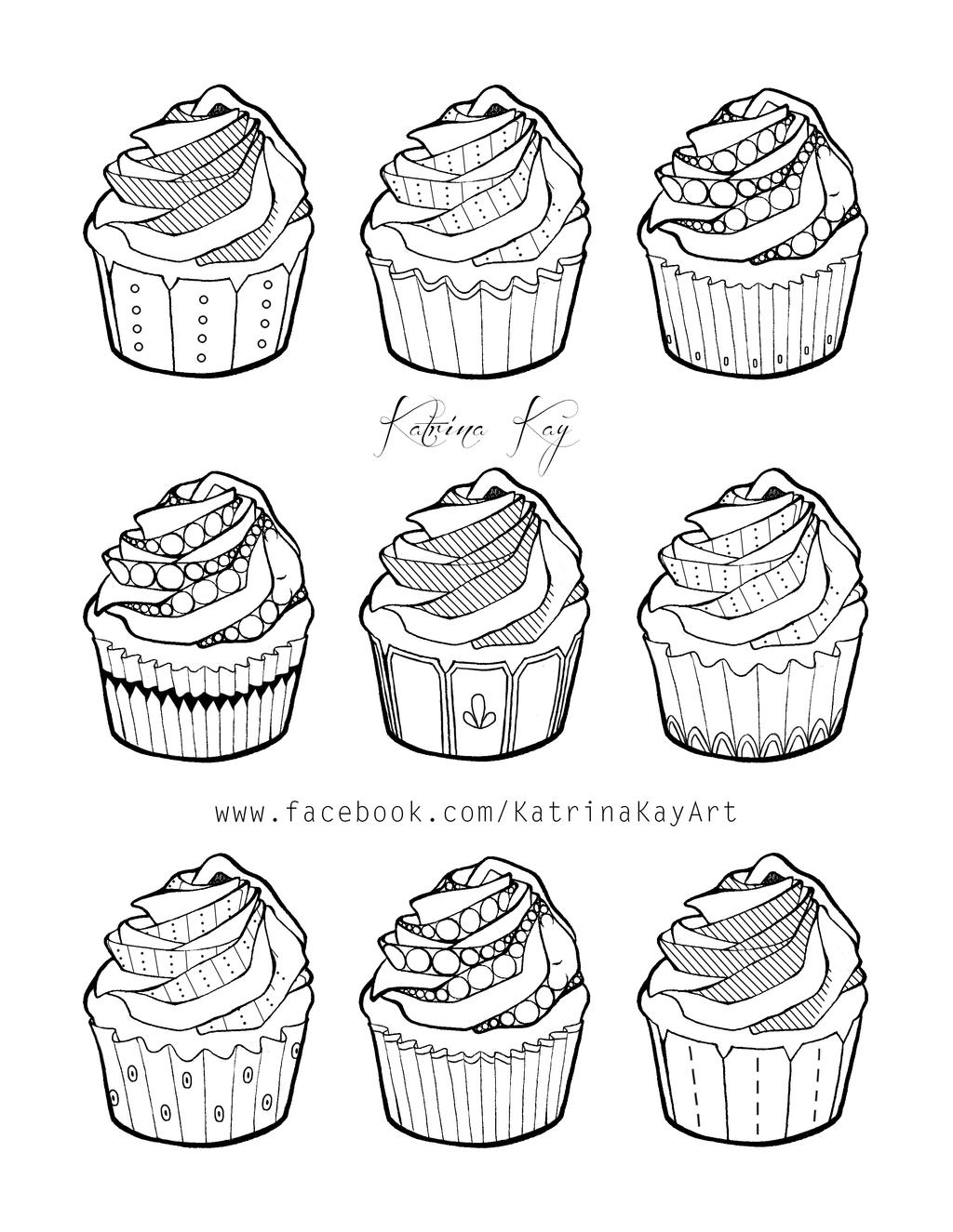 Cupcake Coloring Pages For Adults : Adult Coloring Book Page - Cupcakes by Katoons88 on DeviantArt