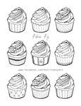 Adult Coloring Book Page - Cupcakes