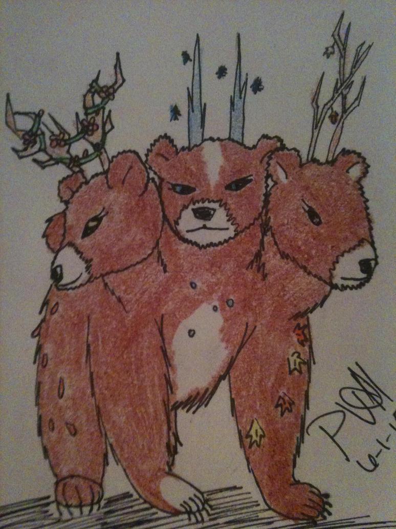 OC: Sonya the magical 3 headed bear by psychovampire11