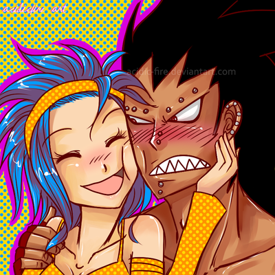 Gajeel x Levy Face Squish by acidic-fire