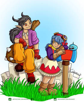 dragon quest builder 2 fan art. Malroth and Erhena