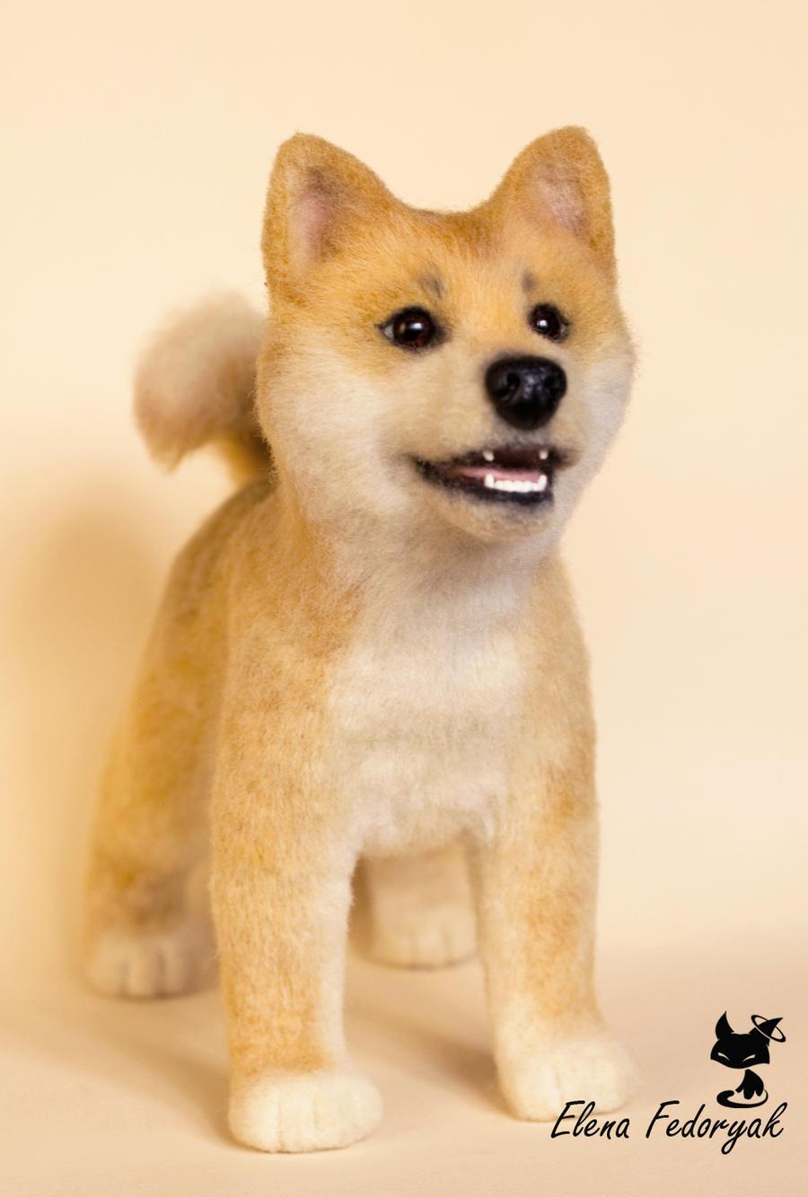 Shiba Inu needle felted dog by KittenBlackUA