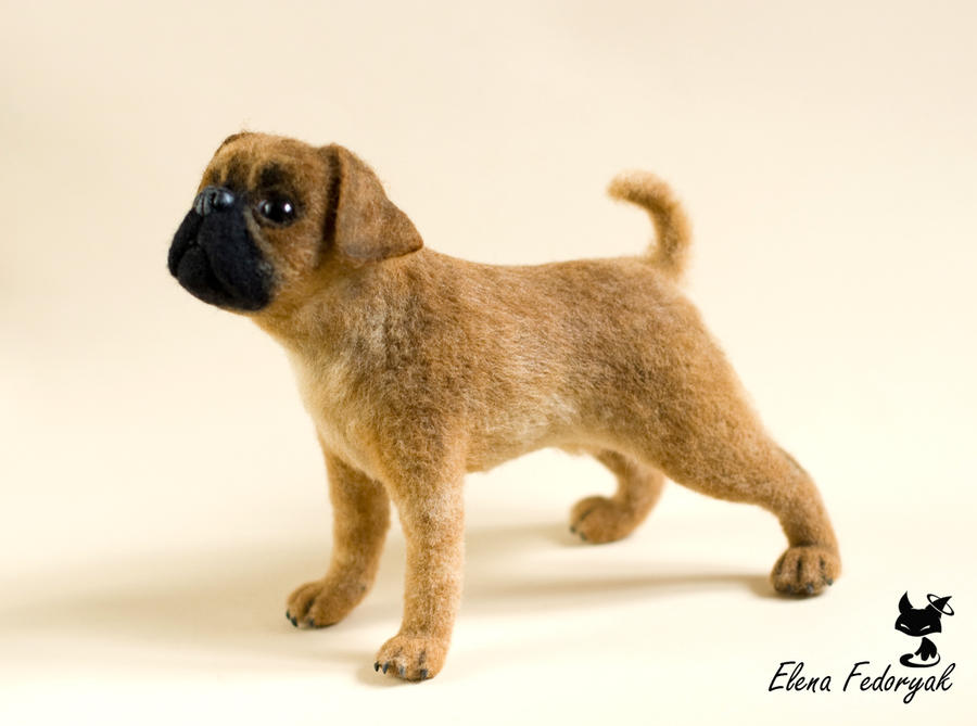 Petit Brabancon needle felted dog by KittenBlackUA
