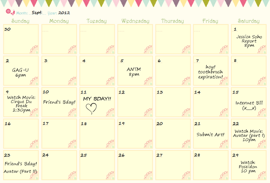 September Activity Sample by mylastel