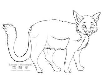 Free Cat Line Art by Blacktiger5