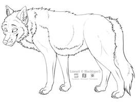 Free Wolf Line Art by Blacktiger5