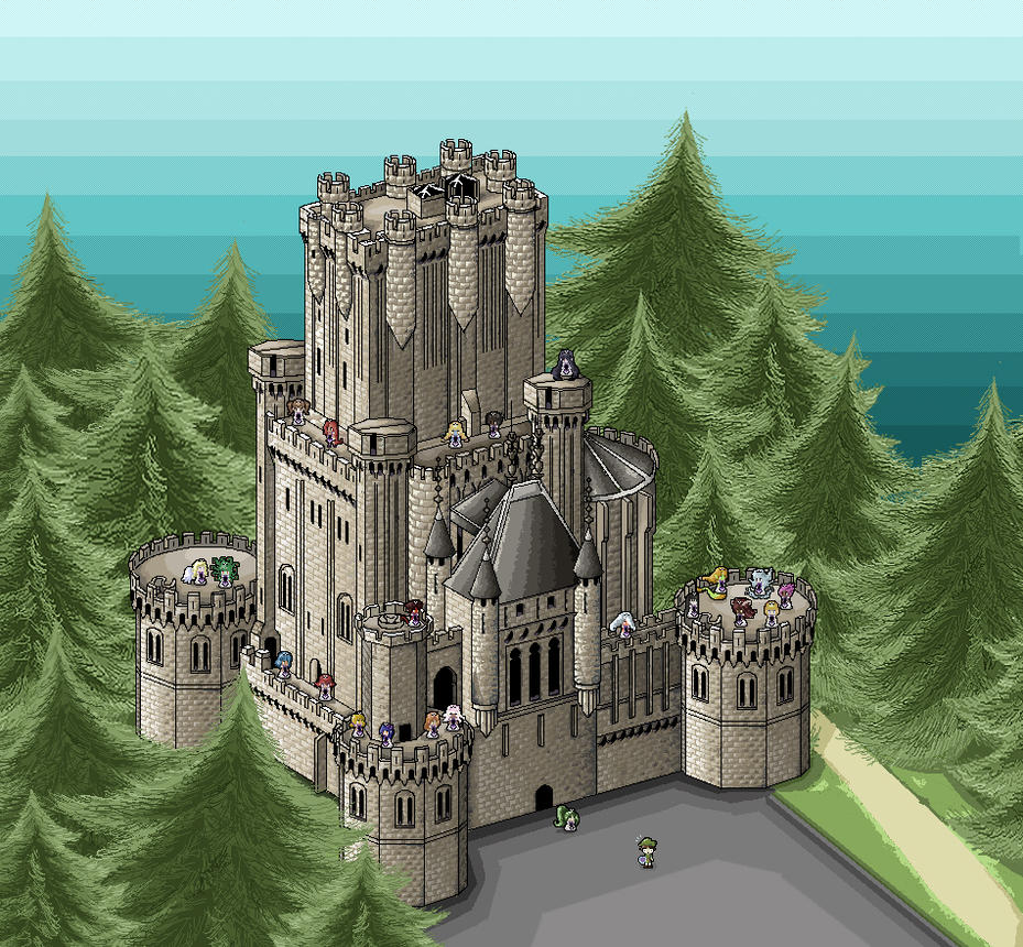 Butron casttle pixel art by Chocolerian