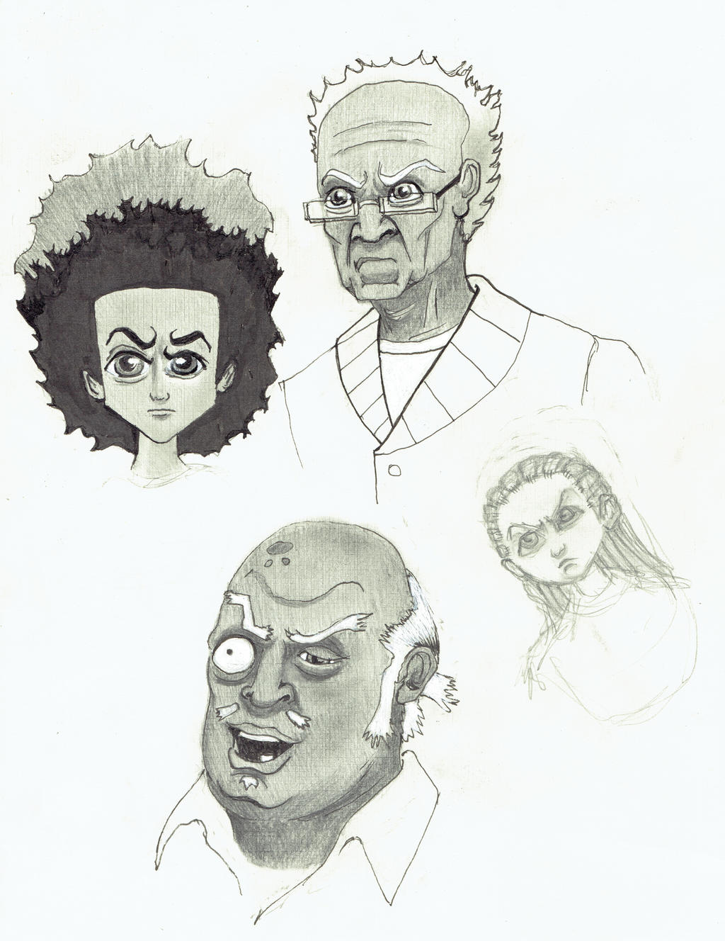 boondocks huey grandpa freeman riley uncle ruckus by doctorfantastic
