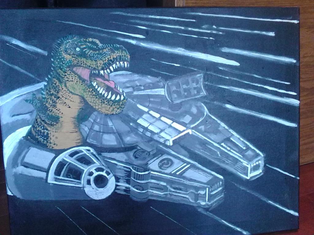 T-Rex piloting the Millennium Falcon