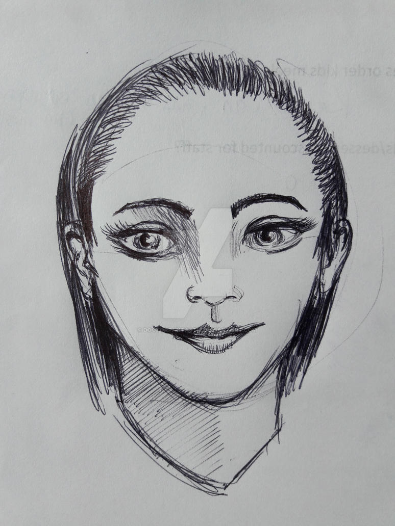 Ballpoint pen work sketch girl portrait by DoctorFantastic
