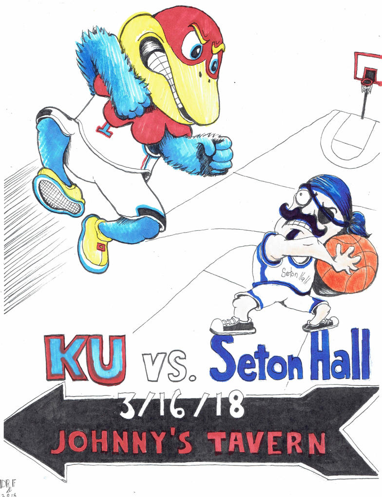 KU vs Seton Hall color piece by DoctorFantastic