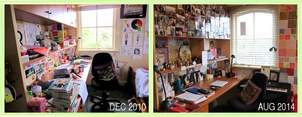 My Desk 2010 to 2014 comparison by katpann
