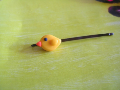 Fimo bird bobby pin by yen-hm