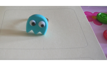 Fimo pacman ghost ring by yen-hm
