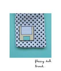 Floppy disk brooch by SOCUTE