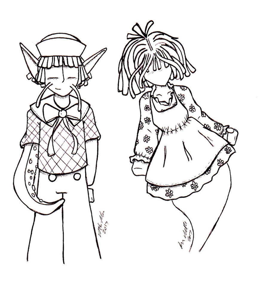 Raggit Ann and Andy -Lineart by Catboy-Trades