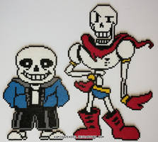 Sans and Papyrus Perler Beads by kamikazekeeg