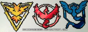 Pokemon Go Teams Perler Beads by kamikazekeeg