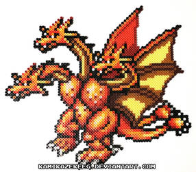 King Ghidorah Perler Beads by kamikazekeeg